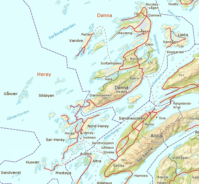kart over herøy Dønnamannen, Dønna kart over herøy